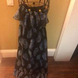 New Forever 21 long dress feather design